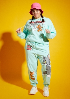plus mint tom and jerry chase graphic joggers - Main Image