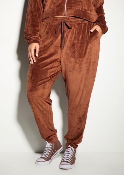 plus brown ribbed velour joggers - Main Image