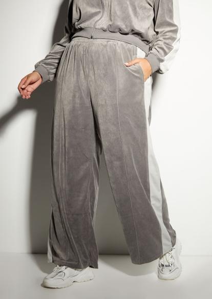 plus gray wide leg side stripe velour joggers - Main Image