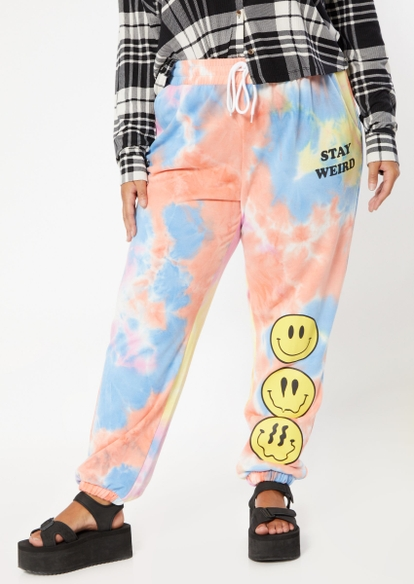 plus tie dye stay weird smiley face graphic boyfriend joggers - Main Image