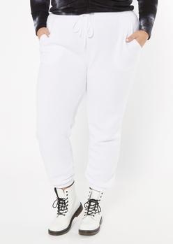 plus white cozy boyfriend joggers - Main Image