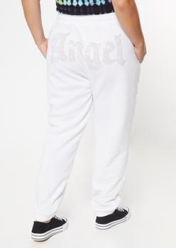plus angel rhinestone boyfriend joggers - Main Image