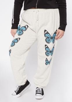plus gray butterfly print boyfriend joggers - Main Image