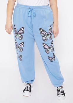plus blue butterfly print boyfriend joggers - Main Image
