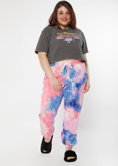 plus pink and blue tie dye cozy boyfriend joggers - Main Image