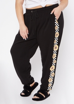 plus black sunflower checkered stripe joggers - Main Image