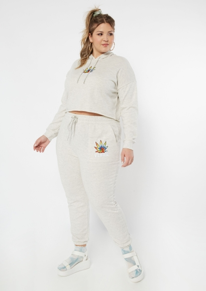 plus heather oatmeal tie dye weed leaf vibes embroidered joggers - Main Image
