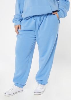 plus blue cozy boyfriend joggers - Main Image