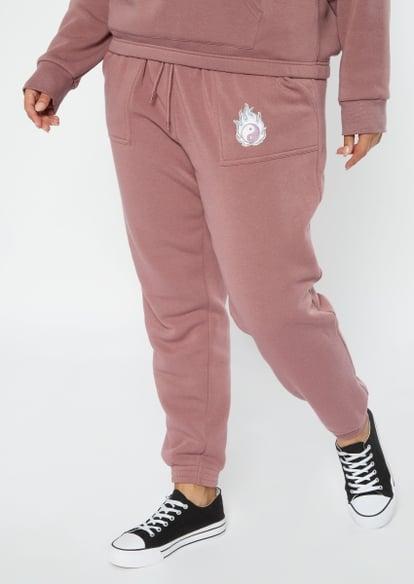 plus purple flaming yin yang embroidered boyfriend joggers - Main Image