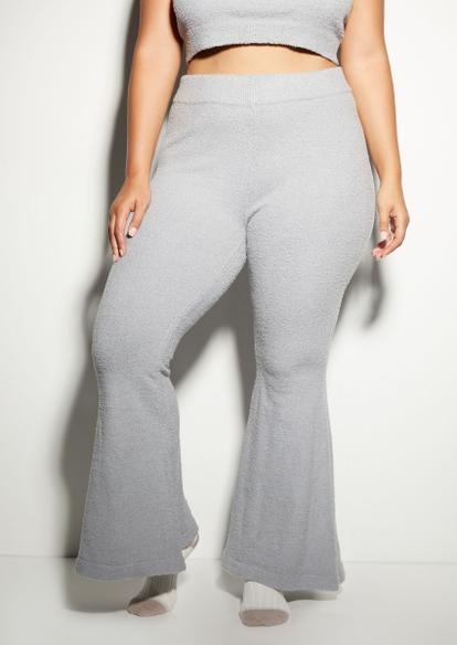 plus gray cozy teddy flare pants - Main Image