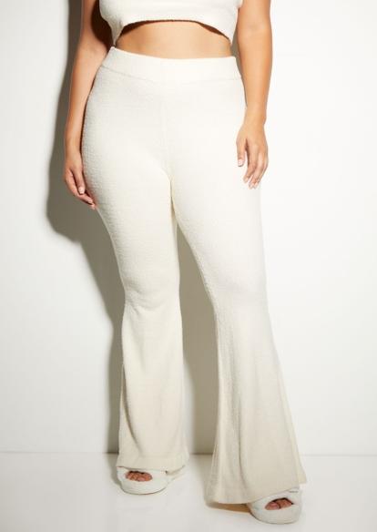 plus ivory cozy teddy flare pants - Main Image