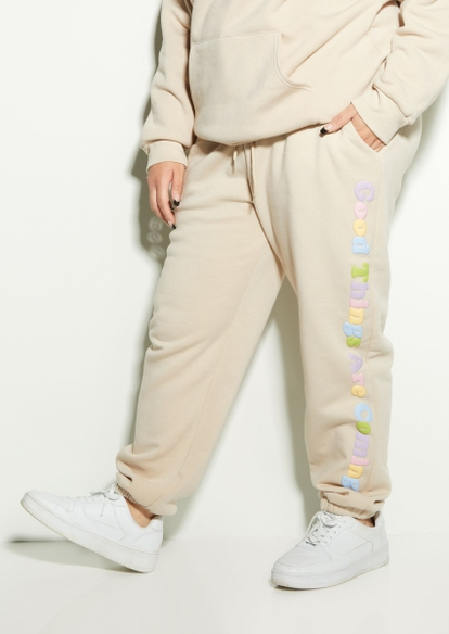 plus taupe good things coming puff graphic joggers - Main Image