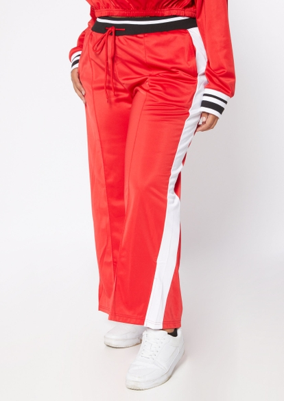 plus red side stripe wide leg tricot track pants - Main Image