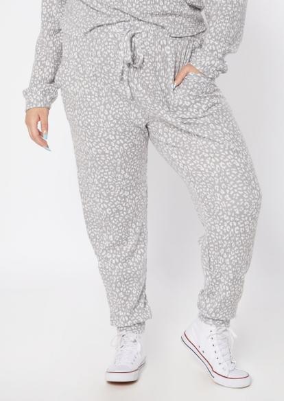plus gray cheetah print brushed hacci waffle knit joggers - Main Image