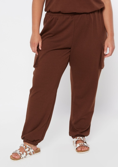plus brown french terry cargo joggers - Main Image