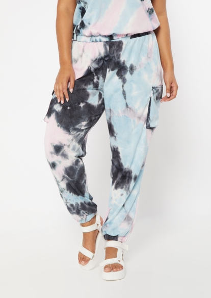 plus black multi color tie dye french terry cargo joggers - Main Image