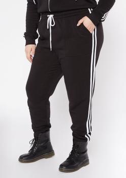 plus black varsity double stripe joggers - Main Image