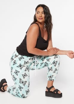 plus teal tie dye butterfly print joggers - Main Image