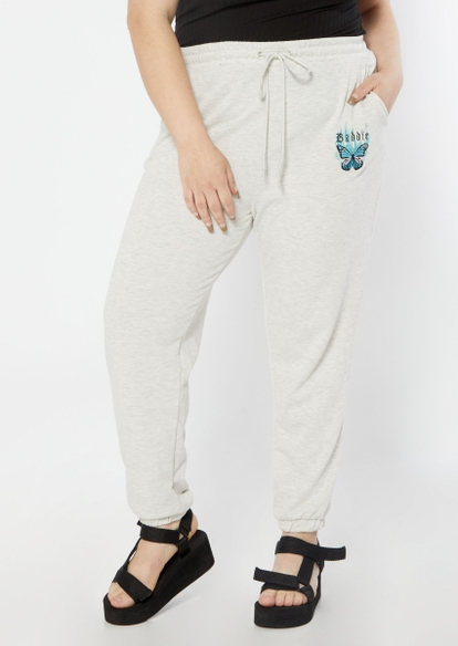 plus oatmeal heather gray baddie butterfly graphic joggers - Main Image