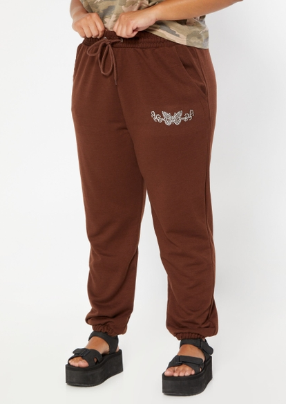 plus brown rhinestone butterfly joggers - Main Image