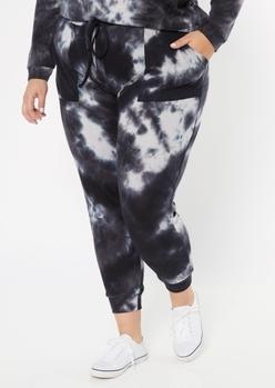 plus black tie dye ribbed knit joggers - Main Image