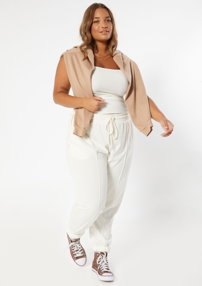 plus cream seam front french terry joggers - Main Image