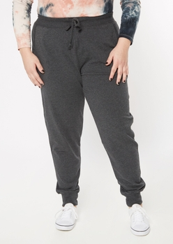 plus charcoal terry knit joggers - Main Image
