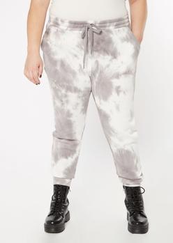 plus gray tie dye joggers - Main Image