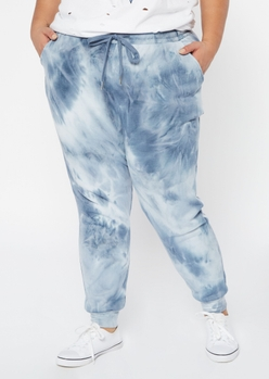 plus blue tie dye joggers - Main Image
