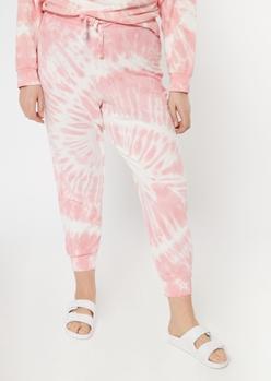 plus pink tie dye joggers - Main Image