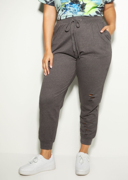 plus charcoal gray distressed joggers - Main Image