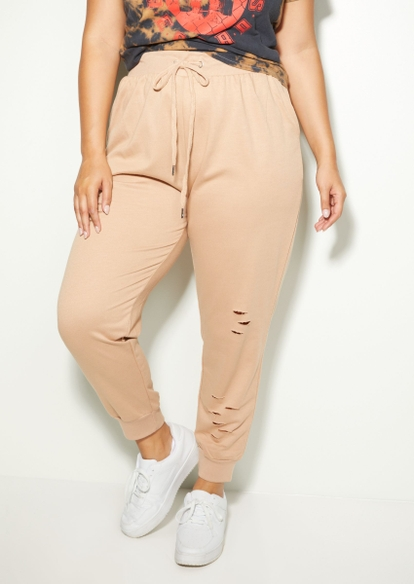 plus taupe distressed joggers - Main Image