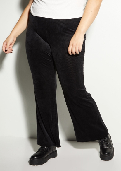 plus black ribbed velour flare pants - Main Image