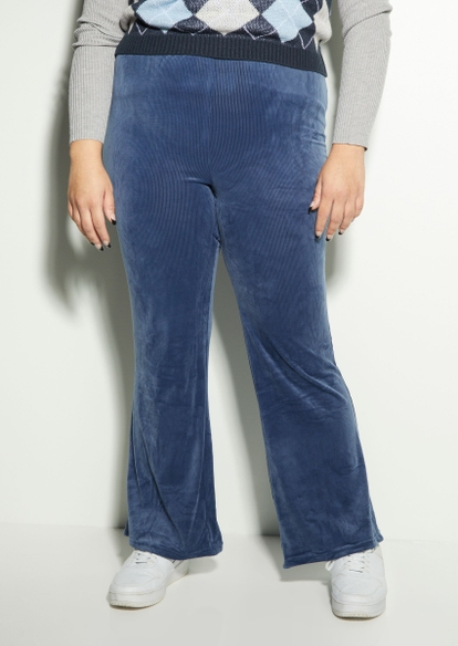 plus blue ribbed velour flare pants - Main Image