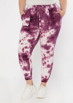 plus purple tie dye hacci knit joggers - Main Image