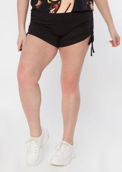 plus black ruched side shorts - Main Image