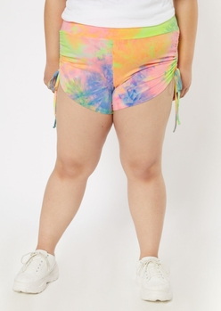 plus yellow tie dye ruched side shorts - Main Image