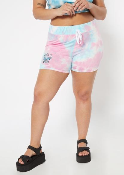 plus pastel tie dye baddie butterfly graphic bike shorts - Main Image