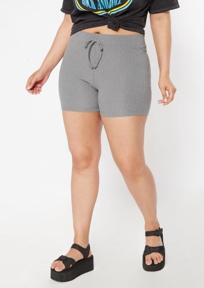 plus black ribbed knit drawstring waist bike shorts - Main Image