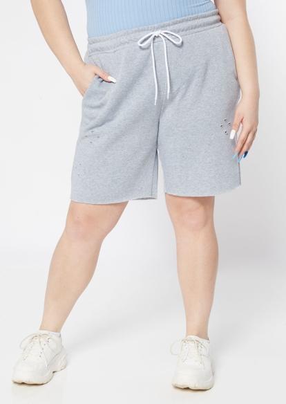 plus gray distressed knit shorts - Main Image