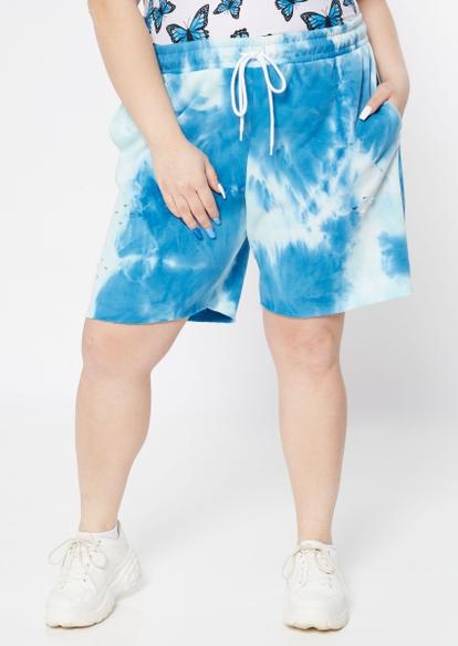 plus blue tie dye distressed knit shorts - Main Image