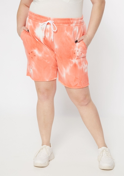 plus coral tie dye distressed knit shorts - Main Image