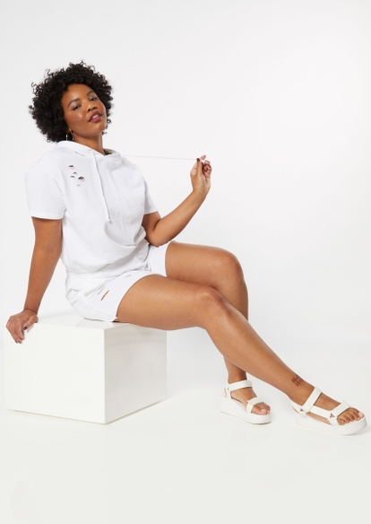 plus white distressed knit shorts - Main Image