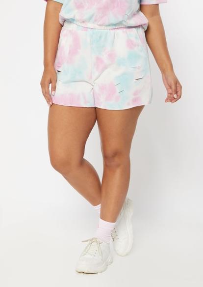 plus pastel tie dye distressed knit shorts - Main Image