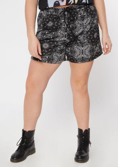 plus black bandana print long fleece shorts - Main Image