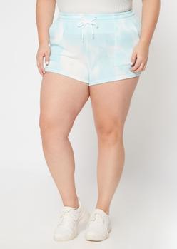 plus blue tie dye fleece shorts - Main Image