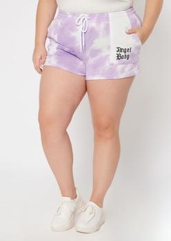 plus purple tie dye angel baby fleece shorts - Main Image