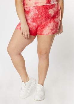 plus pink tie dye honeycomb shorts - Main Image