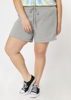 plus gray long sweat shorts - Main Image