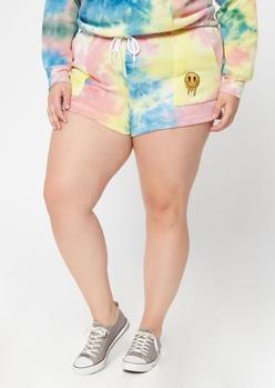 plus tie dye smiley face drip shorts - Main Image